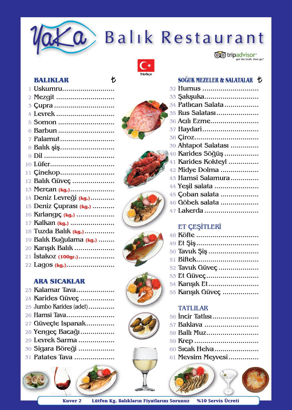 yaka menu